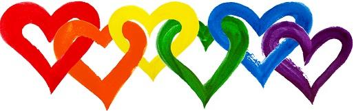 Intertwining rainbow hearts